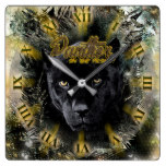 RUSTIC INFLUENCE – Panther on the Prowl Square Wall Clock