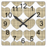 Sepia Hearts Gingham Square Wall Clock
