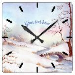 Snowy Bridge Watercolor Landscape Painting Square Wall Clock