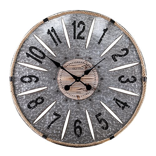 Southern Enterprises Rayonier Decorative Oversized Wall Clock, Aged Galvanized Metal/Rope