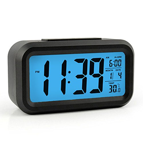HeQiao Alarm Clocks Smart Large LCD Electronic Alarm Clocks Travel Alarm Clock Battery Operated with Calendar Temperature Snooze for Home Office (Black & Blue)