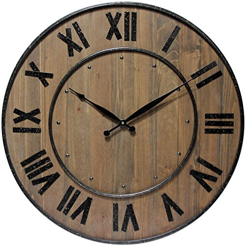 Whiskey Barrel 23 inch Natural Wood Wall Clock