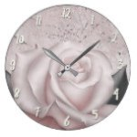 Blush White Rose Glam Modern Marble Shabby Chic Large Clock