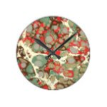 Brown Orange Green Abstract Marble Texture Round Clock