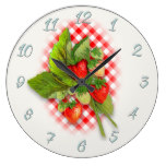 Country Red Gingham and Strawberries Large Clock