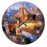 Deer Fawn Autumn Landscape Scene Watercolor Art Large Clock