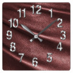 Rich Dark Coffee Burgundy Leather Look Print Square Wall Clock