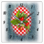 Strawberries, Denim and Red Gingham Country Rustic Square Wall Clock