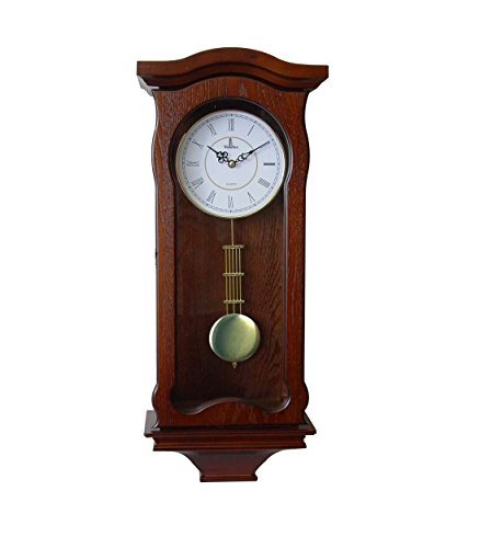 Verona Classic Wood Pendulum Wall Clock with Glass Front – Elegant & decorative wood clock with dark brown finish – 23.5 x 9.75 x 4.75 inch – Quartz movement, battery operated & quiet
