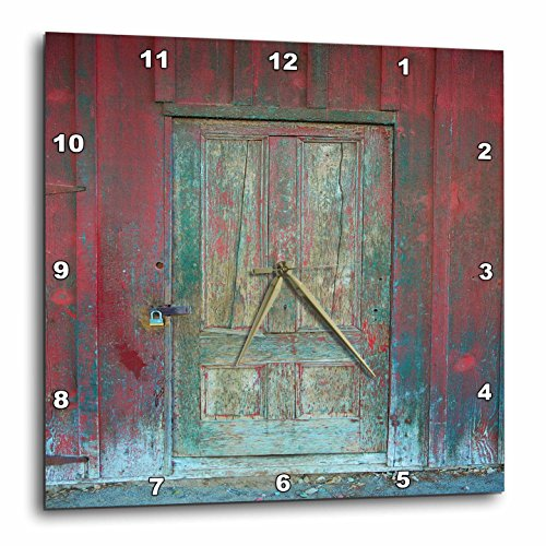 3dRose Image of Aged Rustic Red Wooden Door Wall Clock, 15 x 15″
