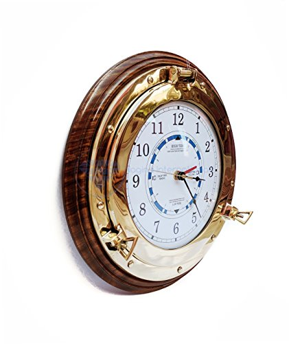Beach House Beautiful Navy Style Time & Tide Wall Clock On Hand Crafted Rosewood Wood Base | Nautical Brass Decor Gift | Nagina International (10 Inches)