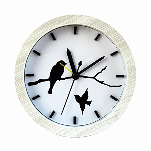 Usany Fashion creative birds home wood color alarm clock retro old wooden bird clock White
