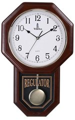 Verona Traditional Wood Pendulum Wall Clock with Glass Front – Elegant & decorative clock with dark brown finish - 18 x 11.25 x 2.75 inch - Quartz movement, battery operated & non-chiming