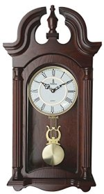 Verona Stylish Wood Pendulum Wall Clock with Glass Front – Elegant & decorative wood clock with dark brown finish - 23.5 x 9.25 x 2.75 inch - Quartz movement, battery operated & quiet