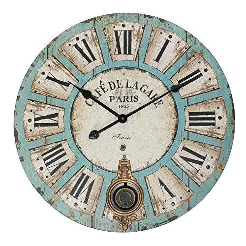 "Jeteven 23"" Large Decorative Wall Clock with Pendulum Vintage Rustic Quartz Silent Wall Clock for Living Room Bedroom Kitchen Decor Battery Operated"