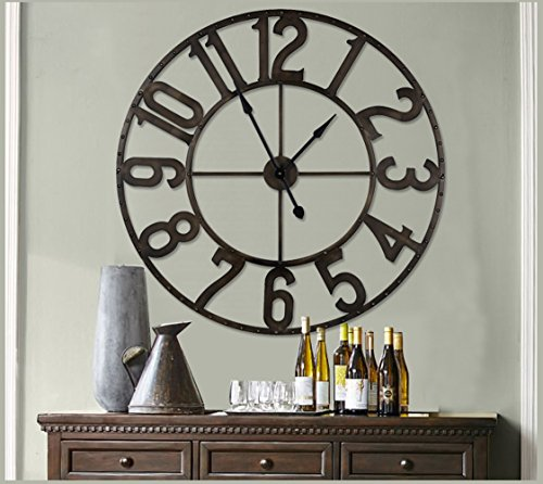 NIKKY HOME 41″ Led Lighted Hollow Out Metal Large Wall Clock Vintage Black