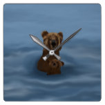 Grizzly Bear and Cub Swimming Clock