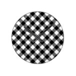 Modern Black and White Check Gingham Pattern Round Clock