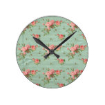 Vintage Pink Rose on Turquoise Background Round Clock