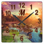 Amazing Creek, Glowing Sun Set Landscape Clock