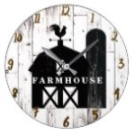 Black Barn White Wood Rustic Farmhouse Country Large Clock