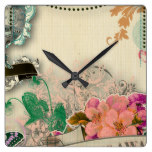 paper shabby chic, french country,vintage,worn,rus square wall clock