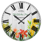 Watercolor Spring Flowers Floral Art Large Clock