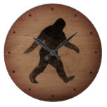 Bigfoot Silhouette Rustic Style Large Clock