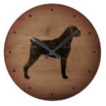 Boxer Dog Silhouette Rustic Style Large Clock