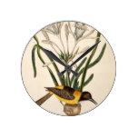 Catersby Bird Vintage Animal Print Round Clock