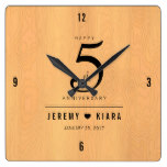 Elegant 5th Wood Wedding Anniversary Celebration Square Wall Clock