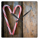 Holiday Heart Candy Canes on Rustic Wood Square Wall Clock