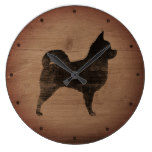 Longhaired Chihuahua Silhouette Rustic Style Large Clock