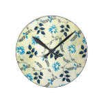 Navy Blue Rustic Leaves Floral Pattern Round Clock