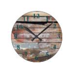 Old wood rustic boat wooden planks round clock