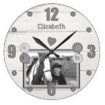 Rustic equestrian horse photo large clock