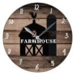 Rustic Weathered Wood Black Barn Country Farmhouse Large Clock