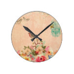 Shabby chic, bird,butterfly,lace,floral,country, round clock