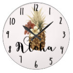 Vintage Tropical Pineapple Hibiscus Floral Aloha Large Clock
