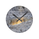 Winter Trees Snow Frost Round Clock