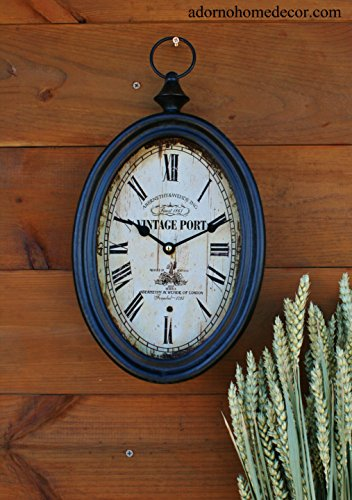 Small Oval Metal Wall Clock Vintage Port Antique Chic French Unique Rustic