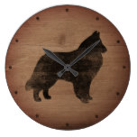 Belgian Sheepdog Silhouette Rustic Style Large Clock