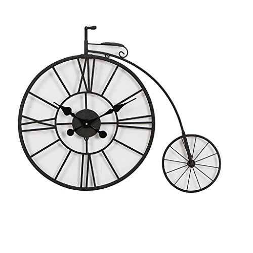 LANNA SHOP- Iron Art Wall Clock personality nostalgic bicycle desigh Silent Hanging clocks rustic bar decoration (78×62×9cm)
