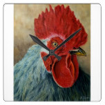 Rooster painting clock, watercolor, kitchen decor square wall clock