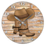 Rustic cowboy boots and hat wall decor large clock