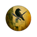 The Gothic Crow On A Cross Round Clock