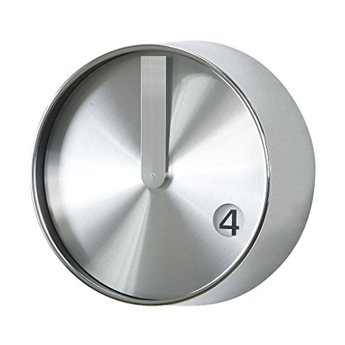 Time Concept 8″ Round Minimal Wall Clock – Silver – Metal Steel Frame, 1 x AA Battery Operated
