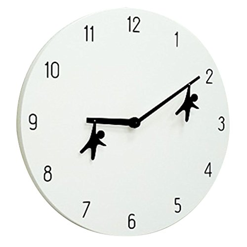 Time Concept 12″ Round Decorative Wall Clock – Hanging Men – Wood Frame, 1 x AA Battery Operated