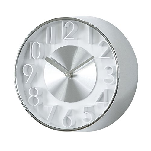 Time Concept 8″ Round Sophisticated Wall Clock – Silver – Metal Steel Frame, 1 x AA Battery Operated