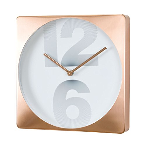 Time Concept 12″ Square Number Wall Clock – Copper – Metal Steel Frame, 1 x AA Battery Operated